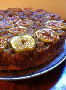 Upsidedown Hazelnut Fig Cake for Hazel's First Birthday!